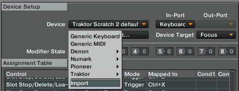 screenshot for importing tsi midi mapping file to traktor