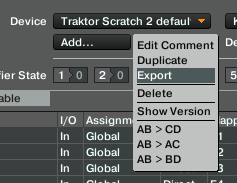 Midi Mapping Screenshot of export page for tsi files in traktor
