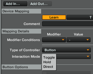 interaction mode toggle hold traktor