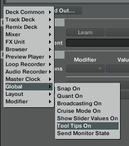 Tool tips on selector screenshot in traktor