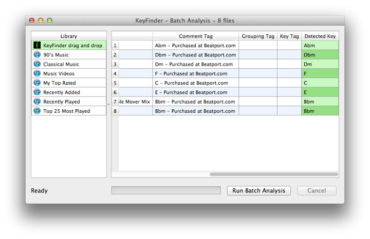 Analyse tracks in Keyfinder - Screen Shot